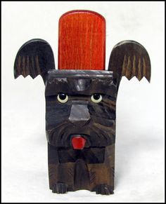 Grumpy dog...  Antique Clothes Brush Art Deco Black Forest Carved by keepsies, £18.95