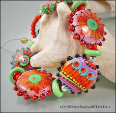 MICHOU  Lampwork Beads  Knotted handmade glass by MichouJewelry, $189.00