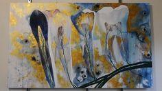 """"""" Teeth """", abstract painting, dental art, 90 x 150 cm, acrylic on canvas"""