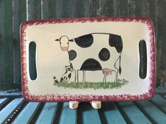 Cow Decor and Cow Collectibles by Molly Dallas - Cow and Cat Serving Platter- Serving Dish - Can be customized or personalized gift by MollyDallasCo on Etsy