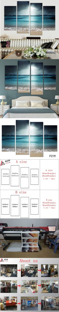 4 Panel Modern Wall Art Home Decoration Frameless Painting Canvas Prints Pictures Sea Scenery With Beach $25.6