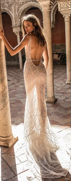 berta fall 2018 bridal sleeveless deep v neck full beaded embellishment elegant glamorous sheath wedding dress low open back sweep train (13) bv -- Berta Fall 2018 Wedding Dresses