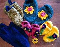 Crochet: Knitter's Crocheted Slippers-multi sizes.  Fast and simple - make a pair for everyone in the family!