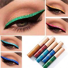 Star Brightness Glitter Eyeliner-Set 10 Colors – Rigel Gold #EyelinerTutorial Double Eyeliner, Glitter Eyeliner, Sparkle Eyeshadow, How To Apply Eyeliner, Bright Eyeshadow, Blue Eyeliner, Green Eyeshadow, Glitter Makeup, Makeup Tricks