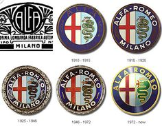 """Fast Facts: Alfa Romeo celebrated the """"Alfa Century"""" on June 24 100 years of fast macchina! In 2014 Alfa Romeo returned to the United States where Alfa's had been absent from dealer. Alfa Romeo Logo, Alfa Romeo Spider, Alfa Romeo Cars, Car Badges, Car Logos, Auto Logos, Graphisches Design, Logo Design, Counting Cars"""