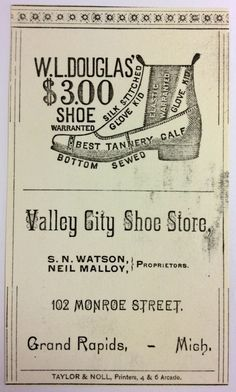 Advertising trade card for Valley City Shoe Store, 102 Monroe St. - c. 1890 - Part of the Public Museum collection, http://www.grmuseum.org