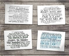 Deluxe Gift Set - THE SMITHS - With Art Presentation Collector`s Folder - 4 x Retro Oversized A5 Postcards - Based On Limited Edition Typography Album Artwork by Lissome Art Studio - Collectable Music Song Lyrics Postcard Poster Art Prints: Amazon.co.uk: Kitchen & Home