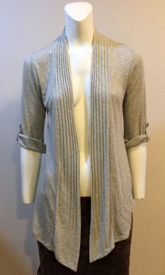 Bobeau-Cardigan-Gray-Tab-Sleeve-Petite-Small-Open-Front-Jacket