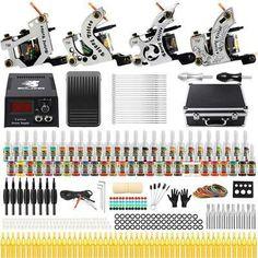 Solong Tattoo Complete Starter Beginner Tattoo Kit 4 Pro Machine Guns 54 Inks Power Supply Foot Pedal Needles Grips Tips Tattoo Machine Kits, Tattoo Machine Power Supply, Tattoo Power Supply, Tattoo Ink Colors, Tattoo Ink Sets, Body Art Tattoos, Girl Tattoos, Sleeve Tattoos, Tattoo Skin