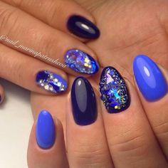 @pelikh_Blue nails with rhinestones, Festive nails, Glossy nails, Nails with gems, Nails…