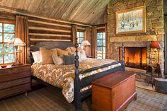 See More Incredible Rustic Master Bedroom Design Ideas >> Cozy Cabin Bedrooms, Log Cabin Bedrooms, Rustic Fireplaces, Bedroom Interior, Master Bedroom Design, Bedroom Design, Bedroom Styles, Cabin Style, Rustic Master Bedroom Design