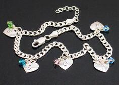 Sterling Silver Heart Anklet Personalized by BelindaCarmichaelSJ