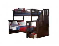 Atlantic Furniture Columbia Staircase Bunk Bed with Raised Panel Bed Drawers, Twin Over Full, Antique Walnut Bunk Bed With Stairs And Storage, Bunk Bed With Trundle, Twin Bunk Beds, Kids Bunk Beds, Bed With Drawers, Bed Storage, Drawer Storage, Loft Beds, Extra Storage
