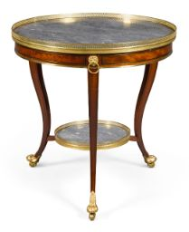 A Louis XVI gilt-brass mounted mahogany and ebony strung guéridon late century with a circular grey figured marble top within a pierced gallery above a frieze punctuated with lions masks and three curved legs united by an undertier, later bronze feet Regency Furniture, Eclectic Furniture, French Furniture, Luxury Furniture, Antique Furniture, Cool Furniture, Furniture Design, Louis Xvi, Reproduction Furniture