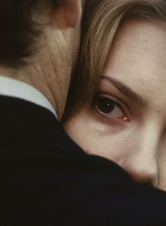 "Extreme closeup: Scarlett Johansson's eye and Bill Murray's neck from ""Lost in Translation."""