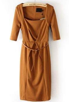 Brown Square Neck Half Sleeve Dress