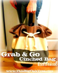 This Big Oak Tree: Grab & Go Cinched Rope Bag {Tutorial}