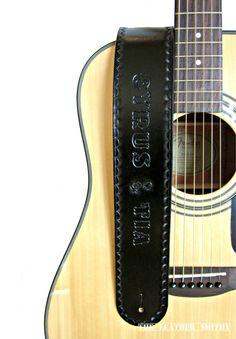 Black Leather Guitar Strap #PersonalizedGuitarStraps #CustomizedStraps #HandTooledLeather #ArtinLeather #TheLeatherSmithy