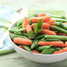 Buttery Mint Carrots and Snap Peas