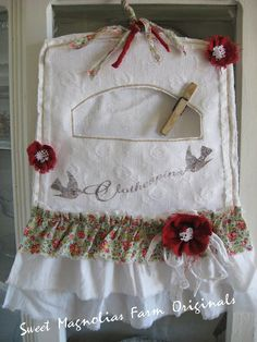 Vintage Clothespin Bag  - White Matelasse - Floral and White Triple Ruffles - Tattered Red Flowers - So Kitshcy ..So Farmhouse Chic. $28.50, via Etsy.