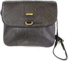 Ladies Super Soft Nappa Leather Shoulder Bag / Cross Body Bag ( Black )