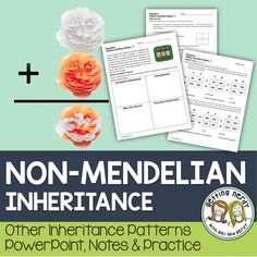 Non-Mendelian Inheritance - PowerPoint and Handouts Students will learn about non-Mendelian forms of inheritance, such as codominance, incomplete dominance, multiple alleles and polygenic inheritance as they watch a PowerPoint and complete Punnett Squares Biology Lessons, Science Lessons, Life Science, Biology Teacher, Teaching Biology, Ap Biology, 8th Grade Science, Middle School Science, School Resources