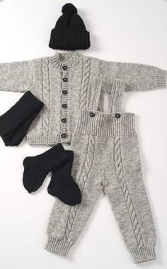 Knitted baby jacket, trousers, hat, mittens and socks Baby Boy Knitting, Knitting For Kids, Crochet For Kids, Baby Knitting Patterns, Baby Patterns, Knit Crochet, Knitted Baby Clothes, Baby Pants, Baby Cardigan