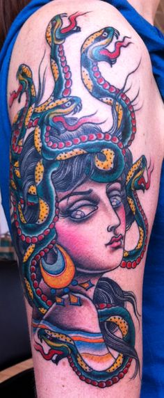 What does medusa tattoo mean? We have medusa tattoo ideas, designs, symbolism and we explain the meaning behind the tattoo. Arm Tattoo, Tattoo Foto, Sick Tattoo, Body Art Tattoos, Sleeve Tattoos, Tattoo Time, Piercing Tattoo, Tattoo Old School, Medusa Tattoo Design