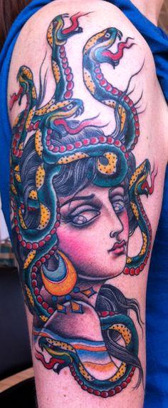 cool medusa... love her greek statue style face... snakes seem kinda Japanese, overall cool tattoo tho