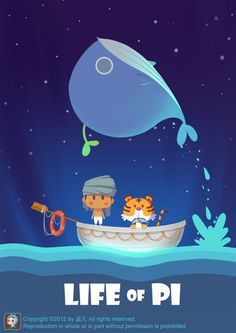 Life of Pi. Fan art of the day! How cute is this whale poster? Joey Chou, Life Of Pi, Grafik Design, Children's Book Illustration, Game Design, Game Art, Concept Art, Character Design, Character Sketches