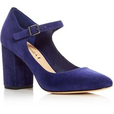 Via Spiga Deanna Mary Jane Block Heel Pumps (€150) ❤ liked on Polyvore featuring shoes, pumps, heels, chunky mary jane shoes, chunky-heel mary janes, via spiga shoes, retro shoes and dark blue pumps