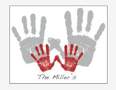 Family Handprint Art PERSONALIZED parent baby footprint print Fathers Day Gift from redmorningstudios on Etsy. Saved to Kids. #newbaby #footprint #handprint #fathersdaygift #fathersday #family.