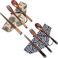 Tatuo 2 Set Wooden Flatware Tableware Cutlery Set Travel Utensils Tied Line Reusable Flatware, Wooden Fork Spoon Chopsticks Wooden Fork, Wooden Spoons, Utensil Set, Flatware Set, Crockery Set, Chopstick Holder, Rough Wood, Wood Sticks, Gabel