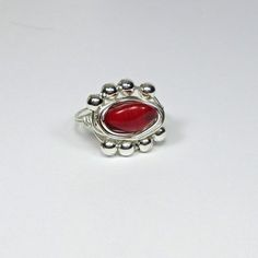 DWJ Natural Red Coral Silver Wire Wrapped Ring SZ 6-10