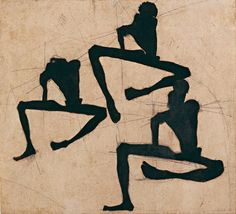 Egon Schiele , Composition with Three Male Nudes, 1910. Drawing