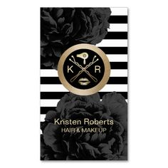 Makeup & Hair Stylist Modern Stripes Black Floral Business Card
