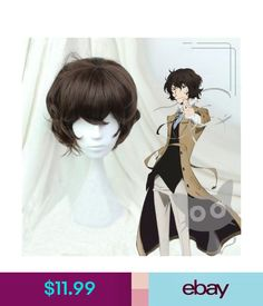 Hair Extensions & Wigs Bungo Stray Dogs Dazai Osamu Short Brown Curly Resistent Cosplay Synthetic Wigs #ebay #Fashion Dazai Osamu, Bungo Stray Dogs, Synthetic Wigs, Hair Extensions, Curly, Cosplay, Brown, Anime, Ebay