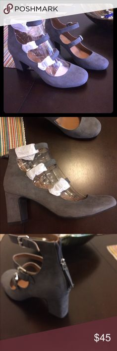 ❤️never worn grey Mary Jane chunky heel size 9.5❤️ These are a show stopper! Never worn as I have them in two other colors grey fabric Mary Jane style heel 2-3 inches. Has buckles in front and zipper in the back Indigo Rd Shoes Heels