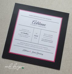 modern poster style bat mitzvah invitation in fuchsia & black