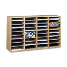 Safco Medium Oak Wood Adjustable Literature Organiser with 36 Compartment: Amazon.co.uk: Office Products