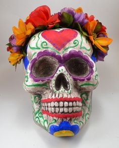 DIY GIANT sugar skull with a floral crown