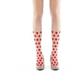 Tights Leggings Hosiery Polka Dot// Black White Red Circle Leggings// Nude Tights Stockings Japan