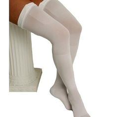 ITA-MED Graduated Compression Thigh Highs Anti-Embolism Compression 18 mmHg White - 1 pr
