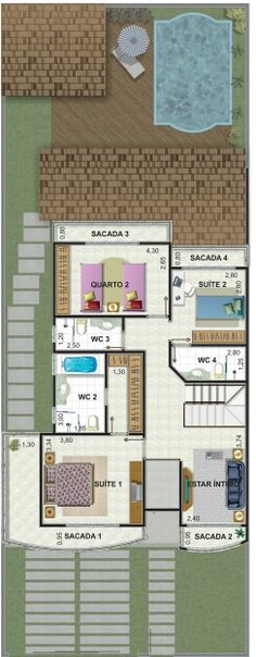 Pinterest: @claudiagabg | Casa 2 pisos 4 cuartos 1 sala de tv 1 estudio piscina / planta 2