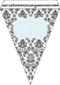 Cinza Branco e Azul - Mini Kit Completo com molduras para convites, rótulos para guloseimas, lembrancinhas e imagens! - Fazendo a Nossa Festa