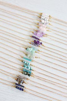 Collier de pierres précieuses barre Pierre par MoonTideJewellery #Jewelry
