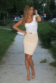 Beige Skirt and white top