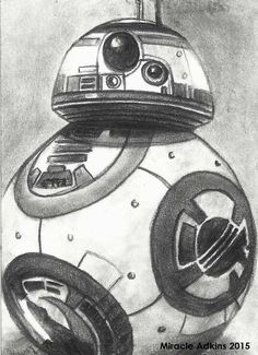ORIGINAL Pencil Drawing STAR WARS:THE FORCE AWAKENS Sketch Card B88 byMiracle…