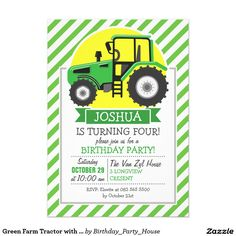 Green Farm Tractor with Yellow;  Green & White Card