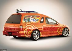 Holden reinvented the Sandman as a concept van at the Sydney International Motor Show in 2000, pictured here with Mambo artwork.